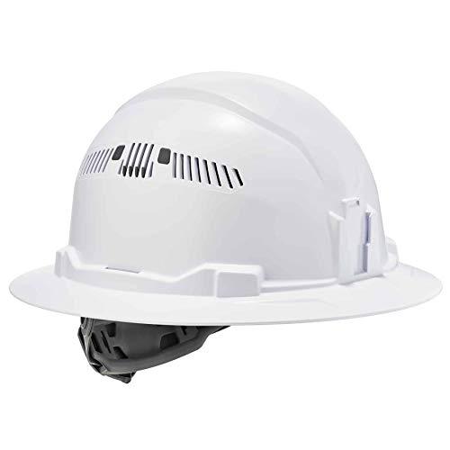 Vented Hard Hat , Full Brim Style, Ratchet Suspension, Class C, Ergodyne Skullerz 8973,White