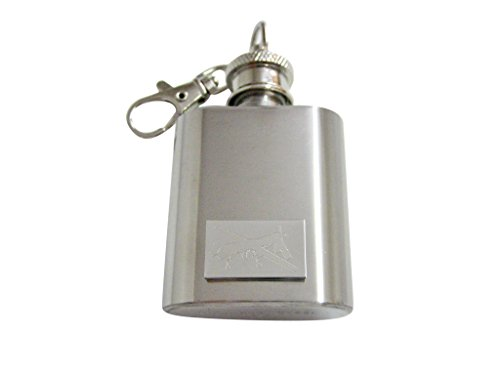 Silver Toned Etched Unmanned Aerial Vehicle UAV Drone 1 Oz. Stainless Steel Key Chain Flask