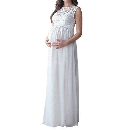 Elecenty Frauen Schwangerschaftskleid, Damen Mutterschaft Spitzenkleid Schulterfreies Kleid Schwangere Elegante Fotografie Stützen Mutterschaft Krankenpflege Kleid Maxikleid (Weiß)