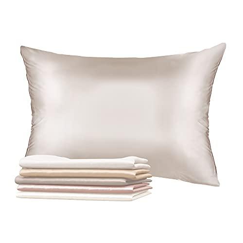 Dreamzie Jedwabna poszewka na poduszkę, dwustronna, 100% jedwab morwowy,19 momme, Öko-Tex®, jedwabna dla skóry i włosów, przeciw starzeniu się, przeciw pluskwom – 40 x 80 cm, srebrnoszara