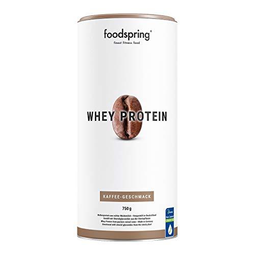 foodspring Whey Protein Pulver, 750g, Kaffee, Eiweißpulver mit hohem Proteingehalt zum Muskelaufbau, aus Milch von Weidekühen