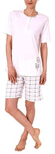 Normann Damen Shorty Pyjama Schlafanzug Kurzarm, Shorts mit Karomuster 191 205 90 946, Farbe:rosa, Größe2:48/50
