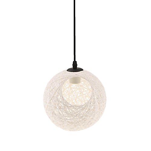 Rattan Lampenschirm Kugel für E27 Deckenleuchte Hängelampe Pendelleuchte, Durchmesser 20 cm - Weiß