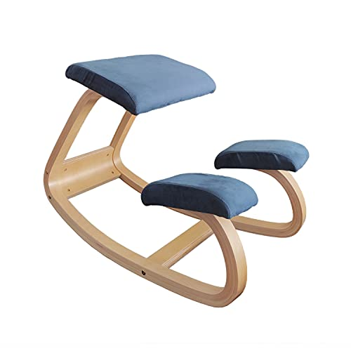 Ergonomic Office Home Kneeling Chair for Work Desk Rocking Balancing Wood Knee Stool Meditation Chair Thicker Comfortable Cushion Improve Posture with an Angled Seat Relieving Neck-Back Pain (Blue)