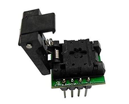 QFN8 WSON8 DFN8 MLP8 Test Socket Programming Adapter Clamshell Pogo Pin Probe 8pin Pitch 0.5mm Chip Size 2X2mm
