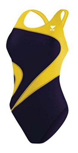 TYR Alliance T-Splice Maxfit - Costume da Bagno per Adulti, Donna, 409MALIT1A32, Blu Navy/Oro, 32