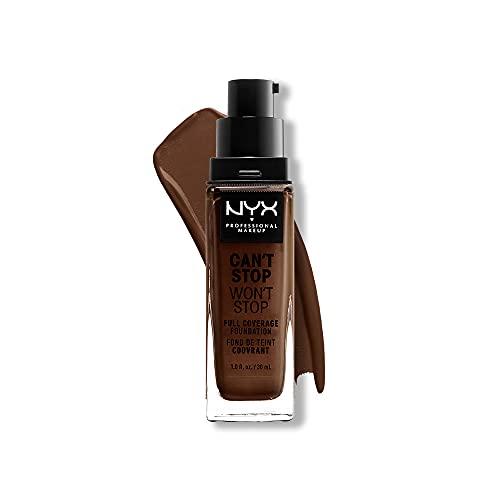 NYX Professional Makeup Fond de Teint Liquide Couvrant Tenue 24h Can't Stop Won't Stop, Waterproof, Fini Mat, Teinte : Deep Espresso