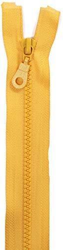 Jajasio 2 STK. Reißverschlüsse Grob Kunststoff 5mm teilbar in 25 Farben Grober Reißverschluss für Jacken Taschen gelb 50cm