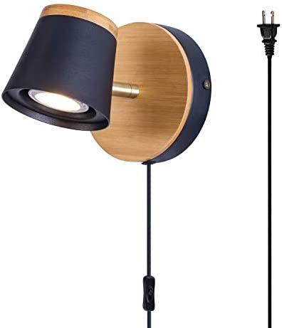 TeHenoo Modern Industrial Plug in Wall Lamp Mini Bamboo Base Contemporary Rustic Style Black product image