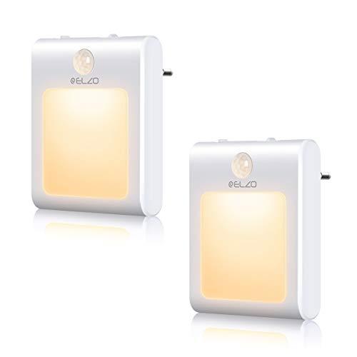 ELZO Luces nocturnas LED [paquete de 2] Luces nocturnas con sensor de movimiento que se conectan a las, ahorro de energía de 0.5 W, iluminación nocturna cálida para niños, cocina, pasillo, escaleras