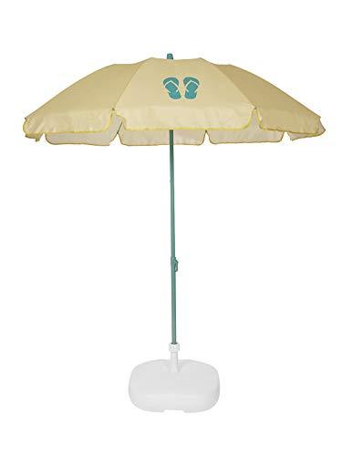 Ezpeleta Sombrilla de Playa|Sombrilla terraza|Parasol Plegable|Protección Solar UPF 50+|Incluye Funda|Tejido Estampado y Barra de Colores|Tejido Estampado (Chanclas Amarillo)