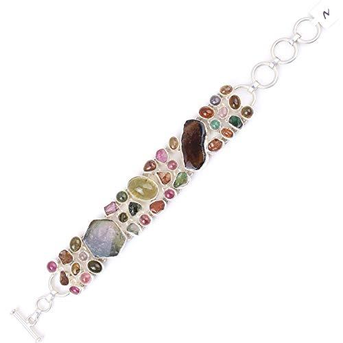 BONLISONS De Plata de Ley 925 con turmalina Multicolor sin Cortar y cabujón para Mujer |Pulsera de Plata |Pulsera de Piedras Preciosas