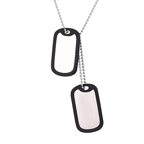 U7 Colgante Collar Personalizado Dog Tag Militar Doble, Collar de Hombre Personalizadas Placas Estilo Ejército para Grabar, Acero Inoxidable Plateado