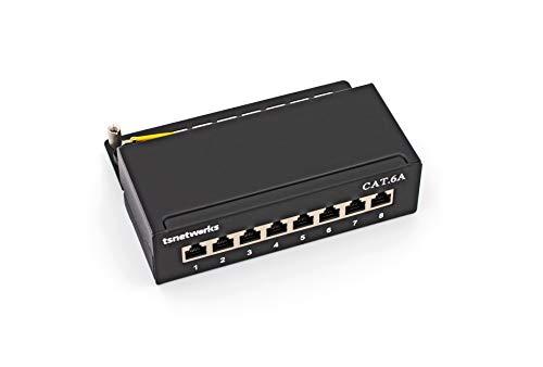 tsnetworks CAT.6a 8 Port Patchpanel/Patchfeld 8X vollgeschirmte RJ45 Buchsen 10GBit, Metallgehäuse schwarz, LSA + Schneidklemmen AWG22-26