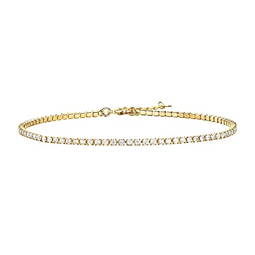 PAVOI 14K Gold Plated Charm Link Flat Gold Anklets for Women (Tennis, Yellow Gold Plated)
