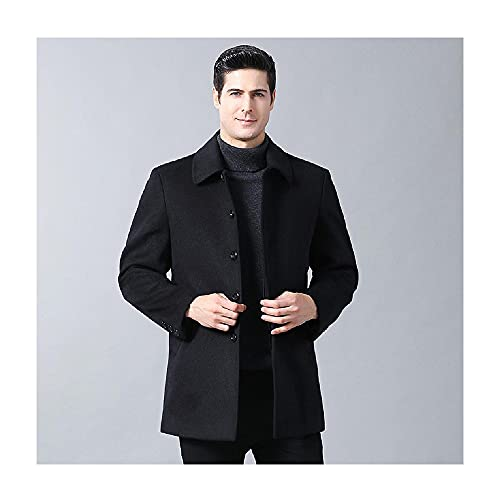 XIAOJU Gabardina para Hombre Cortavientos Chaqueta Larga de Lana de Negocios Slim Fit Casual Acolchado Outwear con múltiples Bolsillos,Black-XXL
