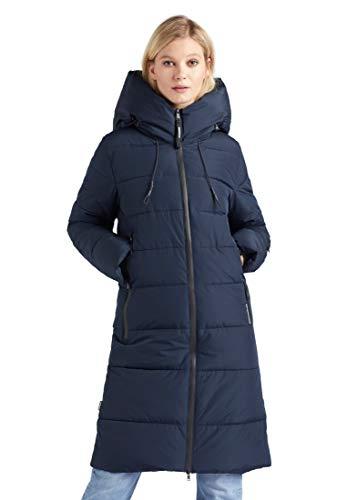 khujo Jilias Damesmantel, effen, gewatteerde jas, capuchon, 2-weg-ritssluiting, lange winterjas