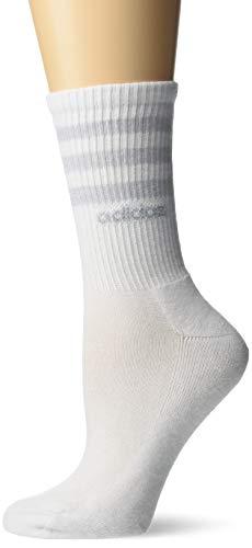 adidas Women's 3-Stripe Crew Socks (3-Pack), White, Size 5-10