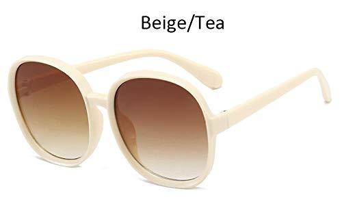 Jbwlkj runde Sonnenbrille Frau übergroße weibliche Brille Farbverlauf Modemarke Frauen Sonnenbrille Damen 2020 Retro Vintage-Beige_Tea