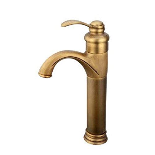Amazing Deal High Water Flow Bathroom Sink taps Basin Faucet All Copper Antique European hot and Col...