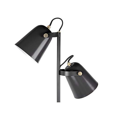 Present time - Lampadaire 2 spots métal noir mat STEADY