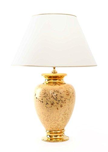 Tischleuchte Adornamento aus Keramik gold dekorativ| Tischlampe E27 | Handgefertigt in Italien | Exklusive Leuchte mit 24 Karat Gold Veredelung GL7832