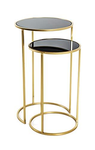 HAKU Möbel Juego de 2 mesas, Tubo de Acero, Dorado y Negro, H 50/60 x Ø 30/35 cm