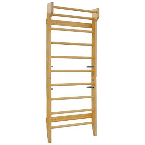 GOTOTOP - Escalera para gimnasio para niños y adultos, 80 x 15,8 x 195 cm, barra de pared de madera de gimnasia, gimnasia, deportiva, carga máxima de 100 kg de madera de pino