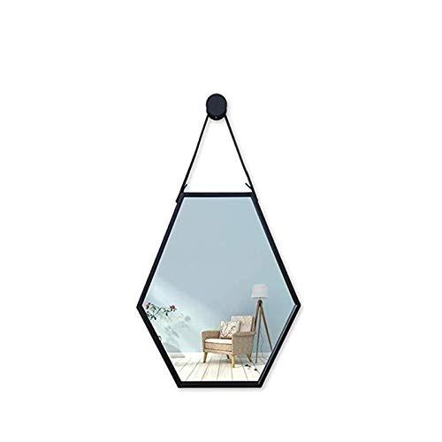 Decoración del hogar Espejos Espejo Decorativo Geométrico Metálico, Espejo De Baño De Suspensión De Pared para Oficina, Hotel, Homestay 60 * 40 Cm Espejos de baño(Size:40 * 60CM,Color:Negro)
