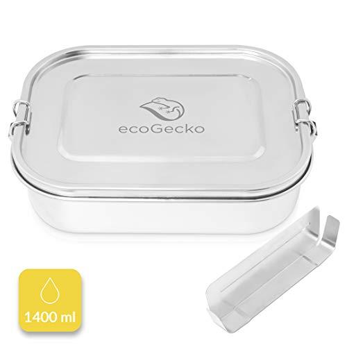 ecoGecko® Premium Brotdose aus Edelstahl | das Original | auslaufsicher & dicht | Die hochwertige Lunchbox für Kinder und Erwachsene | 1400ml Fassungsvermögen | inkl. herausnehmbarer Trennwand