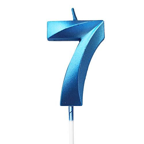 Happyhours Geburtstag Zahl Blau Kerzen Kuchenkerzen Nummer Kerzen Kuchen Dekoration (blau-7)