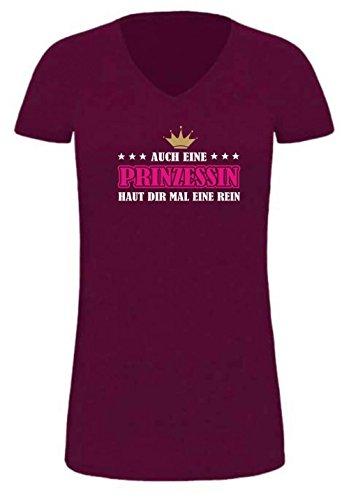 extralanges Lady T-Shirt/Promodoro (Fb. Burgundy) (Gr. XXL) Auch eine Prinzessin Haut dir mal eine rein
