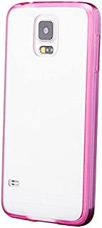 iCues Case Compatible with Samsung Galaxy S5 NEO & S5 TPU Rubber Gel Soft Silicone Bumper Clear Back Pink [Screen Protector Included] Cover Shell Shookproof