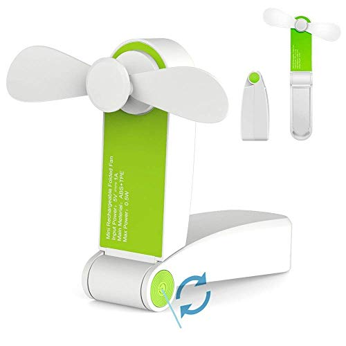 Jhua Draagbare mini-ventilator, opvouwbaar, kleine ventilator, USB-oplaadbaar of op batterijen, voor thuis, op reis, op de camping