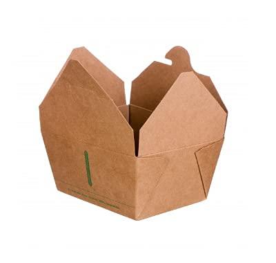 bio3 Envases Desechables para Llevar- Envases Take Away - 100% Biodegradable y Compostable, 13x11x6.5cm, Paquete 25 Piezas, Capacidad 800 ml