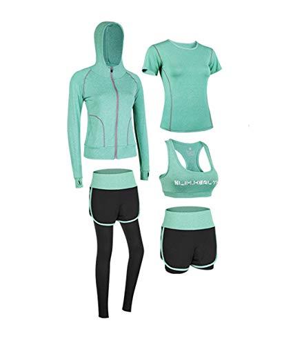 Conjunto Deportivo para Mujer 5 Piezas Secado Rápido Yoga Running Fitness Entrenamiento...