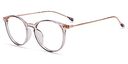Firmoo Blaulicht Brille ohne Sehstärke für Damen, Blaulichtfilter Computer Brille gegen Kopfschmerzen, Blendfreie Runde Gläser, Helllila