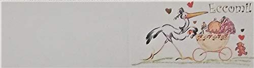 Cartotecnica Italiana 100 Pz Bigliettini Bomboniera Nascita Unisex con Dettagli Stampati Color Oro impaginati in Formato A4