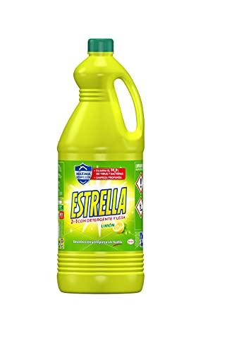 Estrella 2 en 1 Lejía con Detergente Limón, Desinfección y limpieza sin huella para el hogar - 2,7 litros