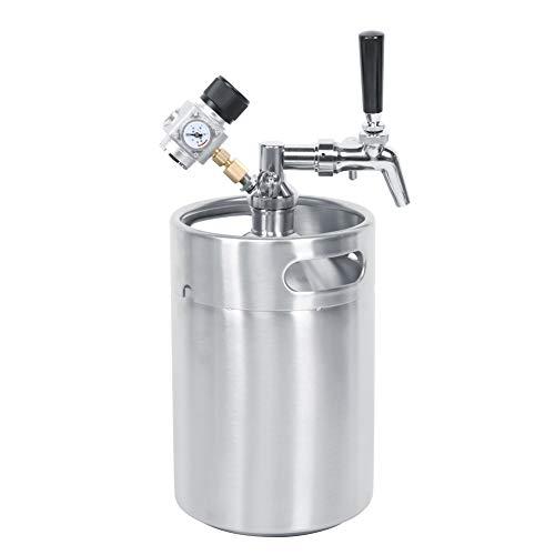Dispensador de cerveza plateado con manómetro, barril de cerveza, para hogar y bar