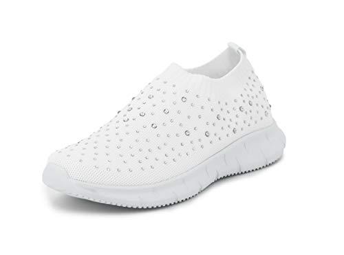 Possidonia Zapatillas Casual con Brillantes para Mujer, Tipo Calcetín, Transpirables Outdoor Ligero Sneakers Talla 36-41EU (Blanco, Numeric_38)