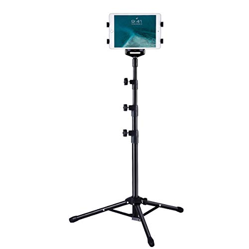 Ipad Tripod Mount Floor Stand, Weiyudang Height Adjustable 20 to 60 Inch Tablet Tripod Stand Mount for Ipad, Ipad Pro 11 and Others Within 7-10 Inch, Carrying Case and Mini Stand Includeed