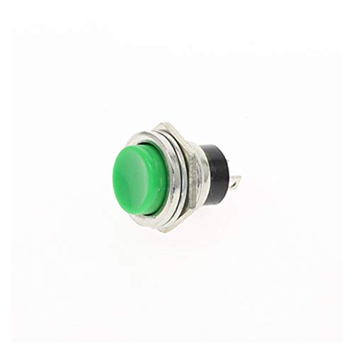 XIAOZSM Interruptores 6pcs 16mm botón del Metal Interruptor de botón Off (ON) momentáneo 6A 250VAC de Encendido Pulsador 6Color Car (Color : Green)