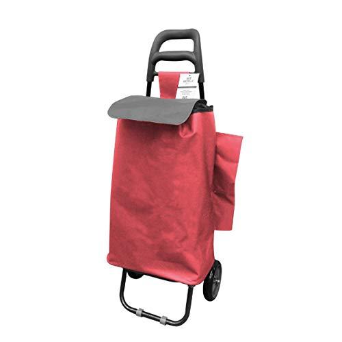 Berela - Rubstripe Carro para Compra con Ruedas de Goma Super Resistentes, Carro Compra Desmontable y Lavable con Amplia Apertura - Rojo