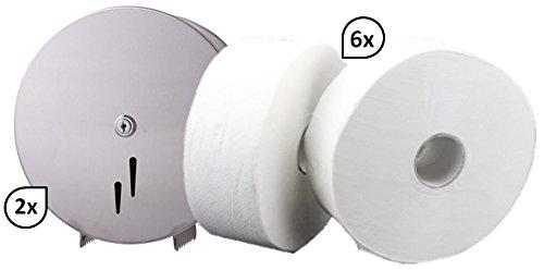 Blanc HYGIENIC SET: 2x Jumbo-Toilettenpapierspender EDELSTAHL matt + 6 Jumborollen-Toilettenpapier 300m, 2-lagig