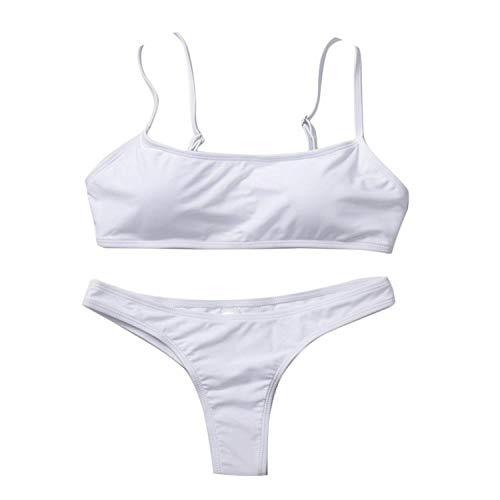 mybeautifulstore 1 Women Solid Bikini Set Push-Up Unpadded Bra Swimsuit Swimwear Triangle Bather Suit,White,XL