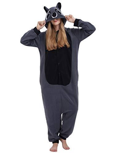 Jumpsuit Onesie Tier Karton Fasching Halloween Kostüm Sleepsuit Cosplay Overall Pyjama Schlafanzug Erwachsene Unisex Lounge, Grau Waschbär, Erwachsene Größe L - für Höhe 168-177CM