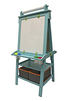 Little Partners 2-Sided A-Frame Art Easel with Chalk Board Magnetic Dry Erase Storage Paper Feed and Accessories for Toddlers Teal Frosting
