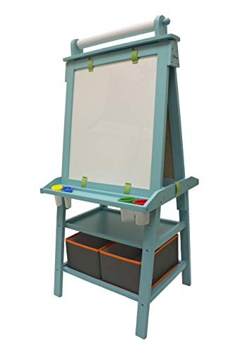 Little Partners 2-Sided A-Frame Art Easel with Chalk Board, Magnetic Dry Erase,...