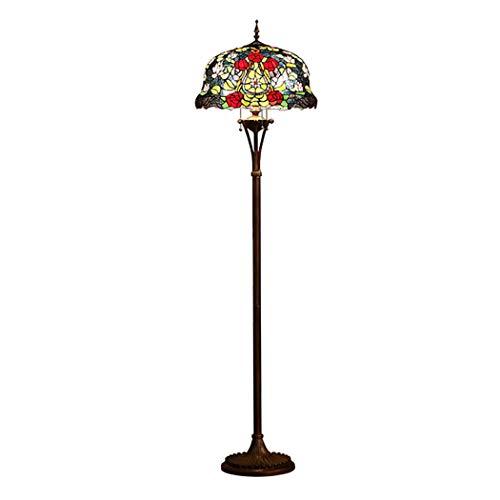 LHFJ Tiffany de pie Lámpara de pie, Rosa roja Rosa Lirio del vitral de Hojas Verdes Sombra Suelo Aplique de la lámpara, Habitación Sala de Lectura Iluminación